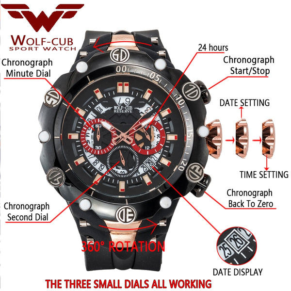 WOLF-CUB Big Dial Men's Sports Wristwatches Waterproof Red Dial Man Steel Chronograph Quartz Wrist Wristwatch Military