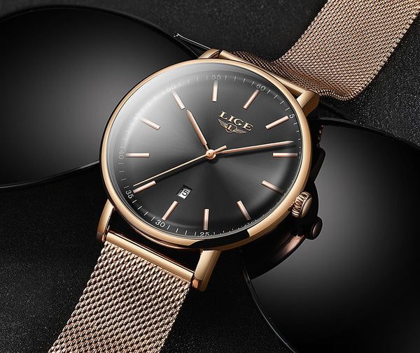 LIGE Womens Wristwatches Top Brand Luxury Waterproof Wristwatch Fashion Ladies Stainless Steel Ultra-Thin Casual  Wristwatch Quartz Wristwatch
