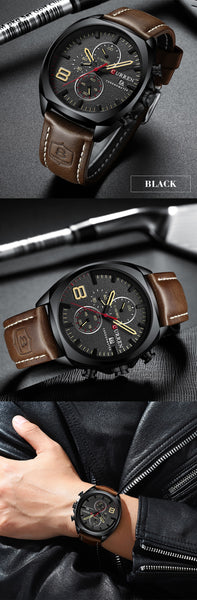 Mens Wristwatches Top Brand Luxury Men's Army Military Sport Wristwatch Men Casual Leather Waterproof Quartz Wristwatch