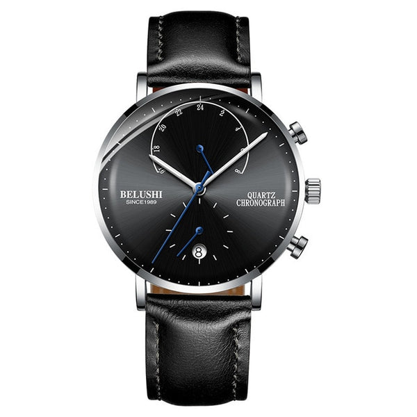 Mens Waterproof Wristwatches Leather Strap Slim Quartz Casual Business Mens Wrist Wristwatch Top Brand Belushi Male Fashion
