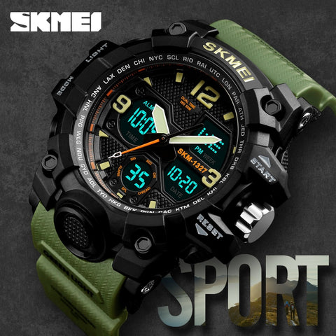 Men Sports Watches SKMEI Brand Double Time Electronic Quartz Watch Watwrproof Military Wrist watches for Men relogio masculino