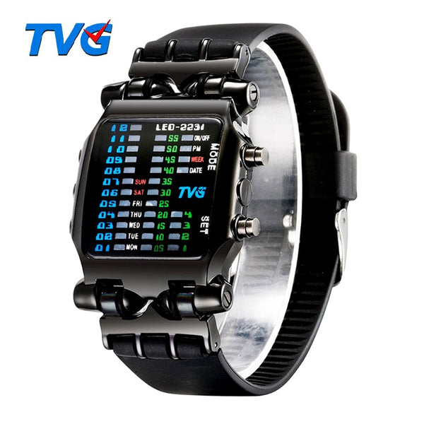 Luxury Brand TVG Wristwatches Men Fashion Rubber Strap LED Digital Wristwatch Men Waterproof Sports Military Wristwatches Relogios Masculino
