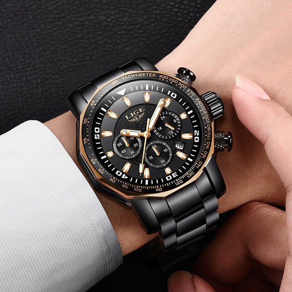 Relojes Hombre 2019 New LIGE High Quality Mens Watches Luxury Big Dial Brand High End Business Quartz Watch Men Waterproof Watch