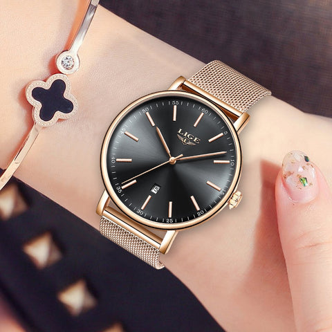 2019 LIGE New Ultra-Thin Waterproof Quartz Female Wristwatch Luxury Rose Gold  Ladies Simple Fashion  Montre Femme