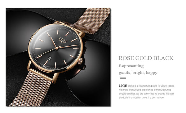 LIGE New Ultra-Thin Waterproof Quartz Female Wristwatch Luxury Rose Gold  Ladies Simple Fashion  Montre Femme