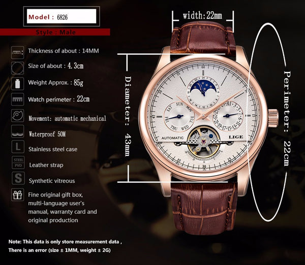 LIGE Brand Men Wristwatches Automatic Mechanical Wristwatch Tourbillon Sport Clock Leather Casual Business Retro Wristwatch Relojes Hombre