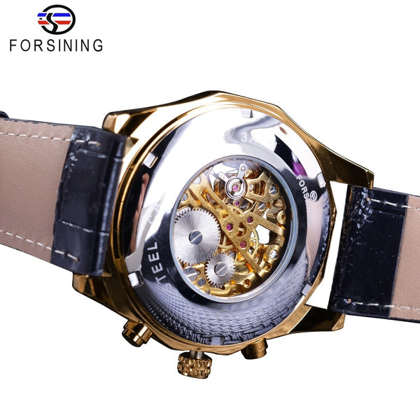 Forsining Waterproof Golden Black Skeleton Two Button Decoration Mechanical