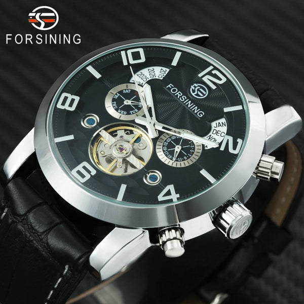 FORSINING Top Brand Luxury Tourbillon Mechanical Wristwatch Men Leather Strap Skeleton Dial 2 Sub-dials Calendar Dress Wrist Wristwatches