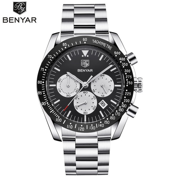 Top Luxury Brand BENYAR Men Wristwatch Full Steel Business Wristwatches Quartz Wristwatch Men Casual Waterproof Sports Wristwatches