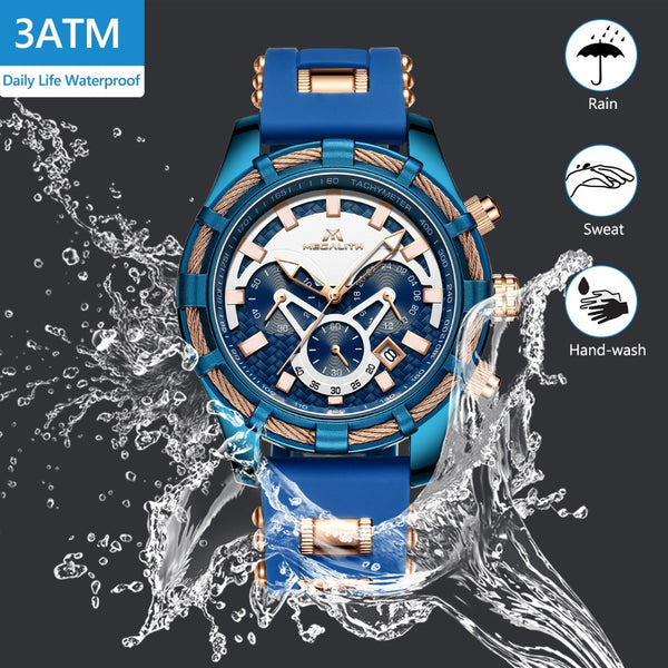 MEGALITH Mens Wristwatches Waterproof Blue Silicone Strap Sports Chronograph Quartz Wristwatches