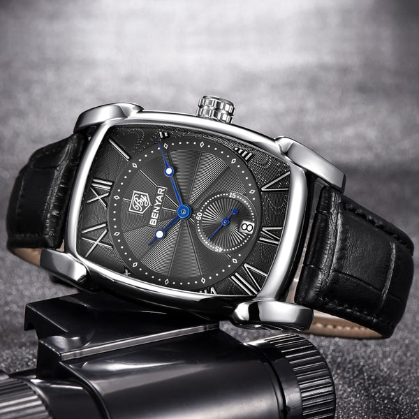 BENYAR Men Wristwatch  Luxury Brand Quartz Mens Wristwatches Men Military Leather Men Sports Wristwatch Hour Date 30M Waterproof BY-5114