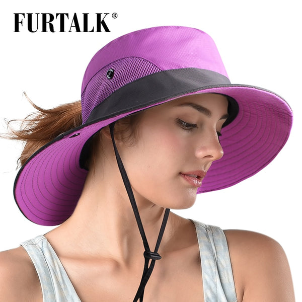 FURTALK Safari Sun Hats for Women Summer Wide Brim UV UPF Ponytail Outdoor Hunting Fishing Hiking Hat SH053