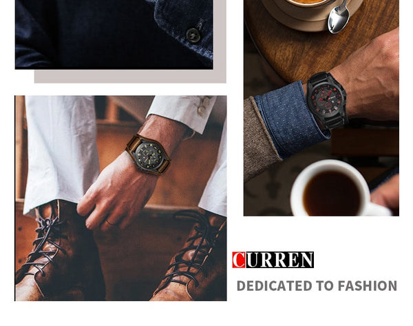 CURREN Top Brand Luxury New Mens Wristwatches Male Date Sport Military Date Wristwatch Leather Strap Quartz Business Men Wristwatch 8225