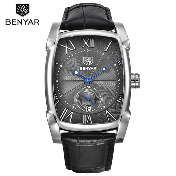 BENYAR Men Wristwatch 30M Waterproof Leather Strap Luxury Quartz Wristwatch Rectangle Case Auto Date Fashion Casual Men's Wristwatches  New