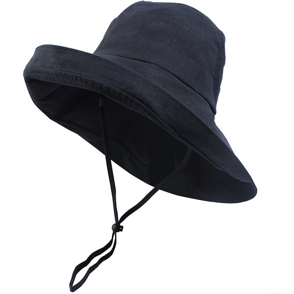 Summer Sun Hat Women Outdoor Beach Sea Bucket Cap UV Protection Cotton Chin Wind String Large Brim Fashion Floppy Garden Hat
