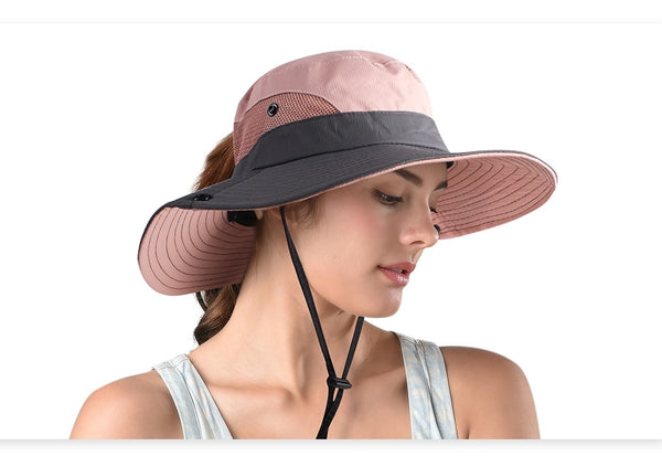 FURTALK Safari Hats for Women Summer Sun Wide Brim UV UPF Ponytail Outdoor Hunting Fishing Hiking Hat SH053