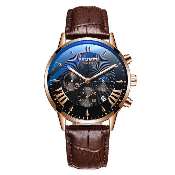 Mens watches Top Brand luxury Belushi Military Wristwatches Mens Sports Quartz Wrist Wristwatch Waterproof Leather Male Reloj Hombre