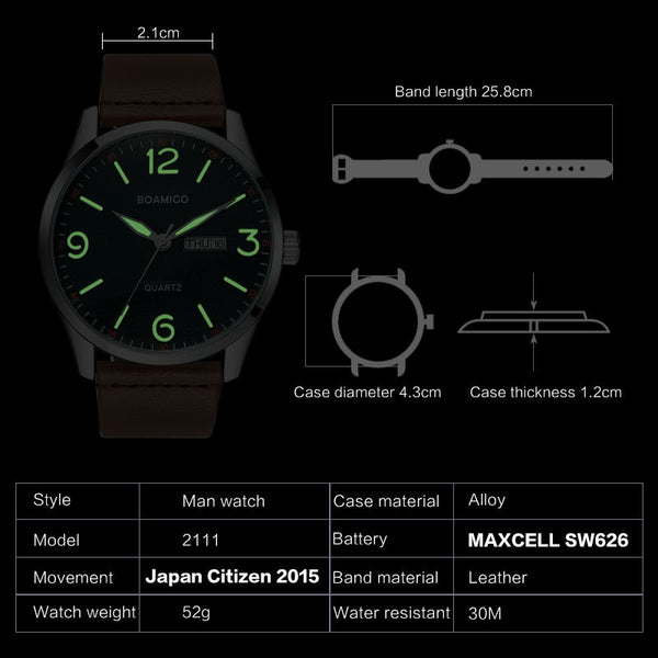 boamigo top luxury brand men military fashion sport business quartz watch man casual brown leather wristwatches waterproof