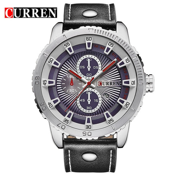 NEW CURREN Brand Men Sports Waterproof Quartz Wristwatch Fashion Military Luxury Leather Strap Wristwatches