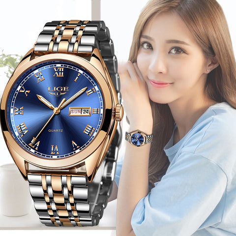 2019 LIGE New Rose Gold Women Watch Business Quartz Watch Ladies Top Brand Luxury Female Wrist Watch Girl  Relogio Feminin