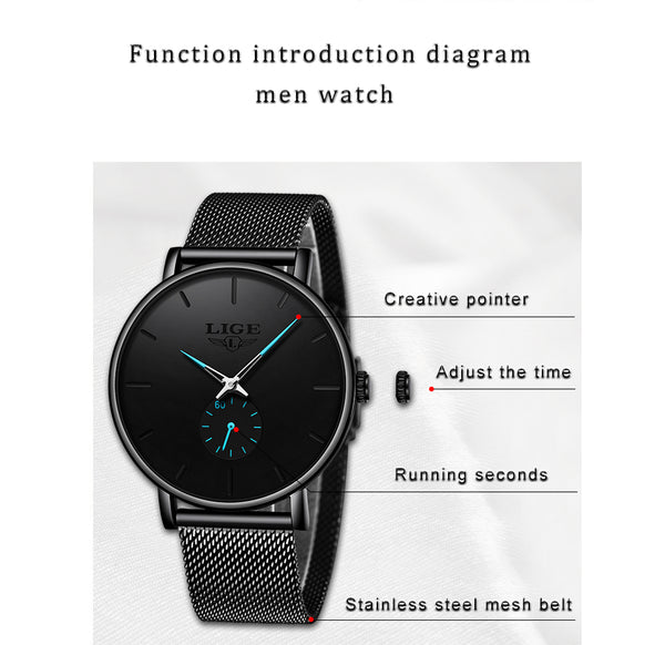 LIGE  New Fashion Sport Mens Wristwatches Brand Luxury Waterproof Simple Wristwatch Men Ultra Thin Dial Quartz
