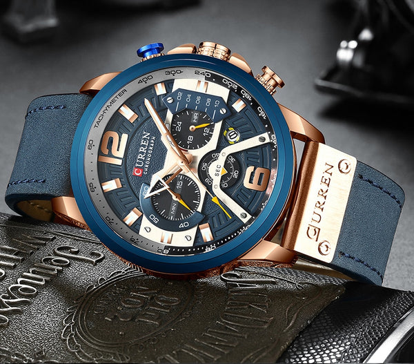 Curren Mens Wristwatches Top Brand Luxury Chronograph Men Wristwatch Leather Luxury Waterproof Sport Wristwatch Men Male  Man Wristwatch