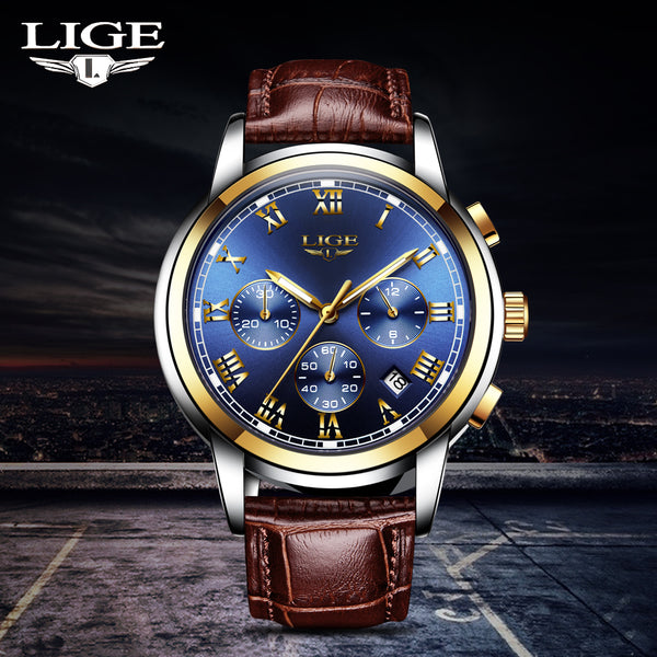 LIGE Mens WristwatchesTop Brand Luxury Men's Sport's Wristwatch For Men Casual Leather Waterproof Wristwatch Quarzt