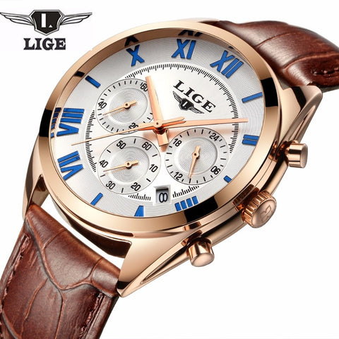 2019 LIGE Top Luxury Brand Fashion Casual Men's Leather Quartz Wristwatch Multifunctional Wristwatches Sport Male