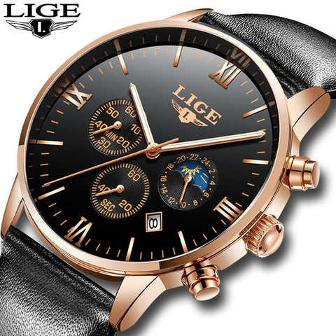 2019 LIGE Luxury Fashion Brand Wristwatch Men's Fashion Sport Military Quartz Wristwatch Men's Business Waterproof
