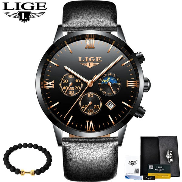 LIGE Luxury Fashion Brand Wristwatch Men's Fashion Sport Military Quartz Wristwatch Men's Business Waterproof