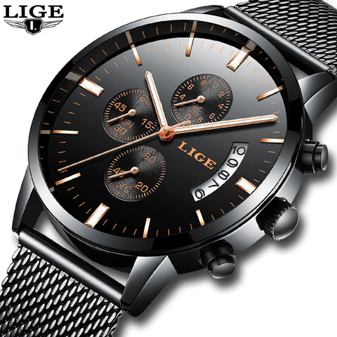2019 Luxury Brand LIGE casual Wristwatches Men Simple Business Quartz Wristwatch Man Mesh strap Date Fashion Black