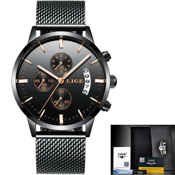 Luxury Brand LIGE casual Wristwatches Men Simple Business Quartz Wristwatch Man Mesh strap Date Fashion Black