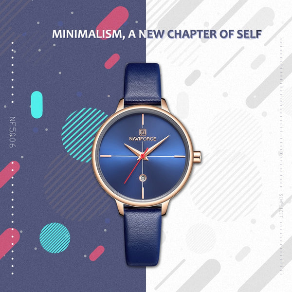 NAVIFORCE Women Wristwatch Fashion Quartz Lady Blue PU Wristwatchband Date Casual 3ATM Waterproof Wristwatch Gift for Girl Wife Woman