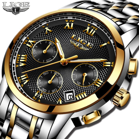 2019 LIGE Wristwatches Men's Military Sports Wristwatch Chronograph Men's Waterproof All-steel Quartz Men's Wristwatch