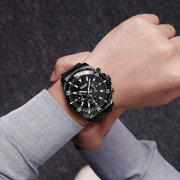 MEGIR Men Wristwatch Top Brand Luxury Chronograph Quartz Wristwatches Stainless Steel Business Wristwatches Men