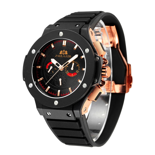 PAULAREIS P Automatic Self Wind Mechanical Rose Gold Silver Black Case Rubber Strap Sports Geneve Fashion Men Wristwatch