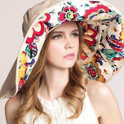 BINGYUANHAOXUAN Top Quality Lady Sun Summer Sun Cap Women Folded Wide Brim Print Knit Hat large Sunhat