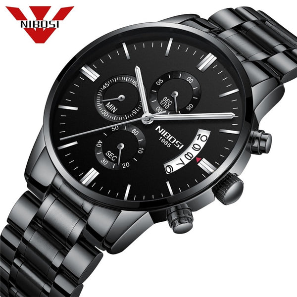 NIBOSI Dropship  Men's Wristwatches Chronograph Calendar Quartz Clock Male Casual Business Waterproof Wristwatch