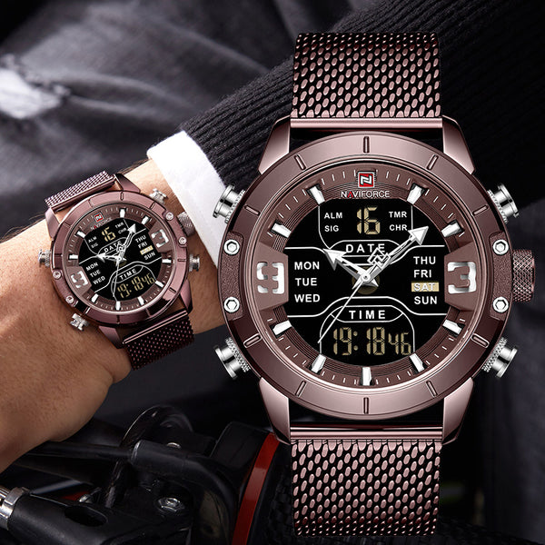 NAVIFORCE Analog Digital Wristwatches Men Luxury Brand Stainless Steel Sports Men's Wristwatches Digital Waterproof Man Wristwatch  Sport