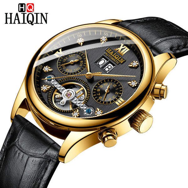 HAIQIN Men's watches Automatic mechanical Men Watches Business Watch men top brand luxury Military Waterproof Tourbillon