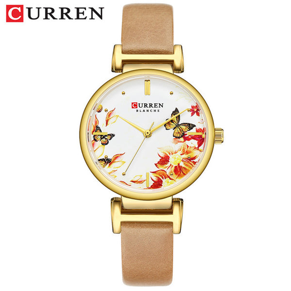 New CURREN Wristwatches Stainless Steel Women Wristwatch Beautiful Flower Design Wrist Wristwatch for Women Summer Ladies Wristwatch Quartz