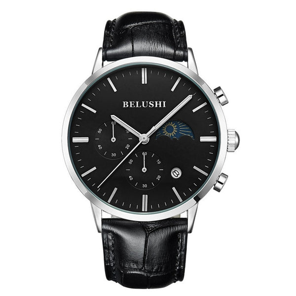 Wristwatch Men Sports Wristwatches Quartz Moon Phase Date Analogue Chronograph Business Wristwatches  Belushi Luxury Wristwatches Top Brand Mens