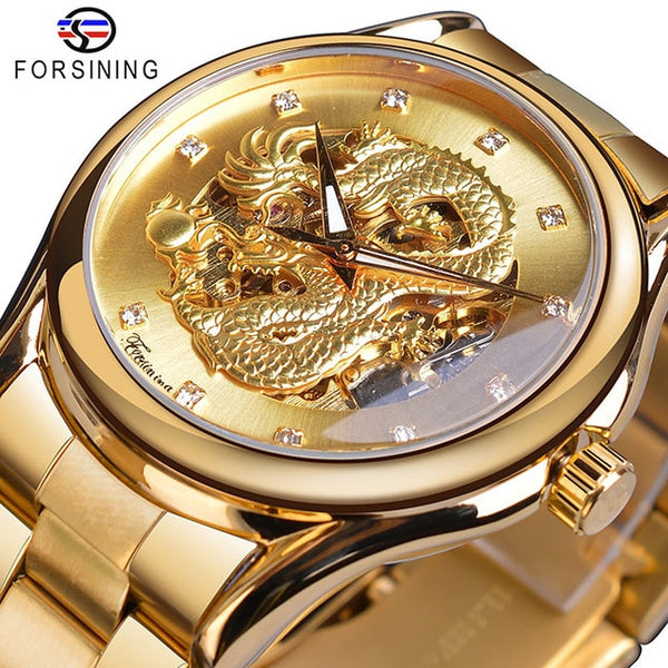 Forsining Luxury 3D Engraved Golden Dragon Automatic Mechanical Men Wristwatches Stainless Steel Band Sports Self-winding Wrist Wristwatch