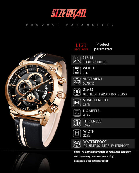 LIGE Watch Top Brand Man Watches With Chronograph Sport Waterproof  Man Watches Military Luxury Men's Watch Analog Quartz