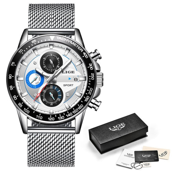 reloj hombre 2019 LIGE Official Store Top Brand Fashion New Mens Watches Waterproof WristWatch Quartz  Luminous Chronograph