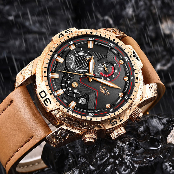 LIGE Mens Wristwatches Top Brand Luxury Military Sport Wristwatch Men Leather Waterproof Wristwatch Analog Quartz Clock