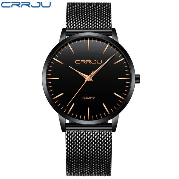 CRRJU Ultra thin Mens Wristwatches Waterproof Brand Luxury Stainless Steel Band Sport Business Military Male Wristwatches