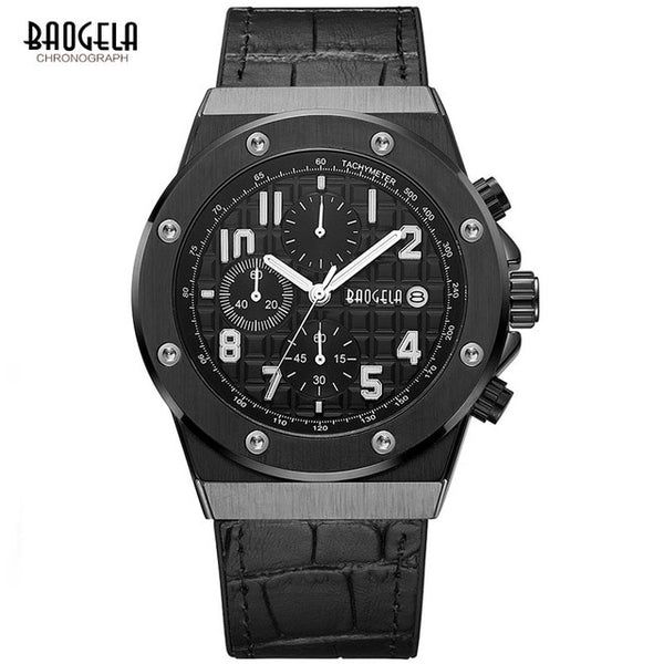 BAOGELA Men's New Quartz Wristwatches  Waterproof Chronograph Casual Luminous Wrist Wristwatch Man Leather Strap Relogios 1805 Blue