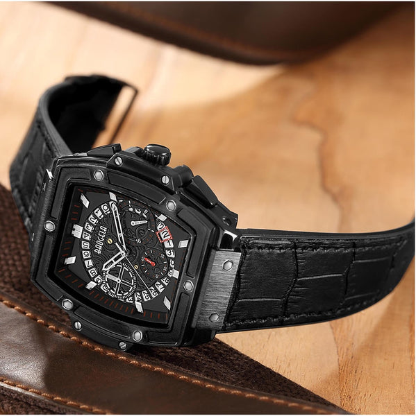 Baogela Men's Sports Leather Strap Chronograph Quartz Wristwatches Fashion Army Rectangle Analogue Wristwatch for Man BL1703
