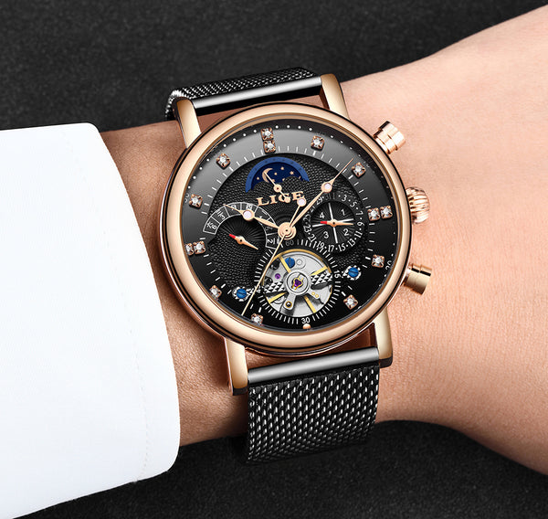 LIGE Mechanical Wristwatch Men Sport Tourbillon Automatic Top Luxury Brand Relojes Hombre Leather Moon Phase Wristwatches Men Relogio+Box